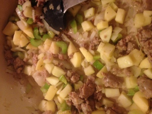 Cooking down the apples, onions and celery