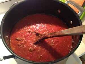 Stirring the sauce