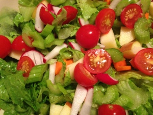 Dad's salad with homegrown tomatoes