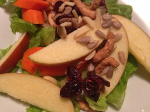 Kid's salad with sunflower seeds and crunchy salad topper