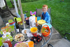 Berry Salad and Fruit Cup during a barbecue