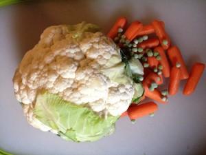 cauliflower peas carrots
