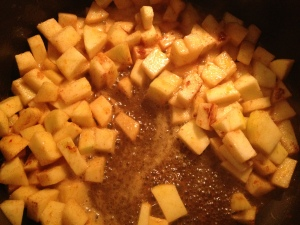 cooking down the apples