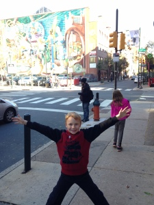 My son enjoying the sites of Philly