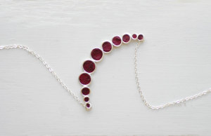 Taylors Eclectic, plum wine red minimalist bubble necklace
